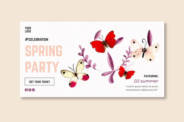 Watercolor spring banner
