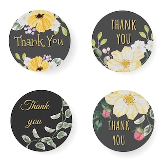 Watercolor spring blossom flower thank you sticker or logo collection