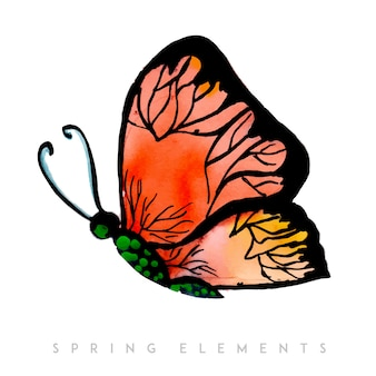 Watercolor spring butterfly