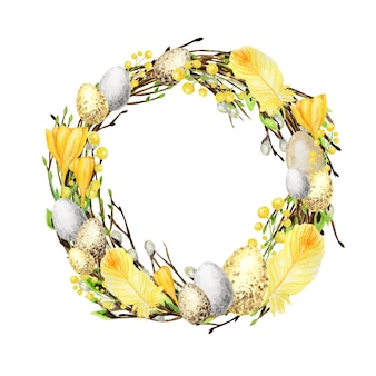 Watercolor spring easter wreath. hand drawn tree branch with feathers, eggs, leaves, yellow crocus flovers, willow frame illustration.