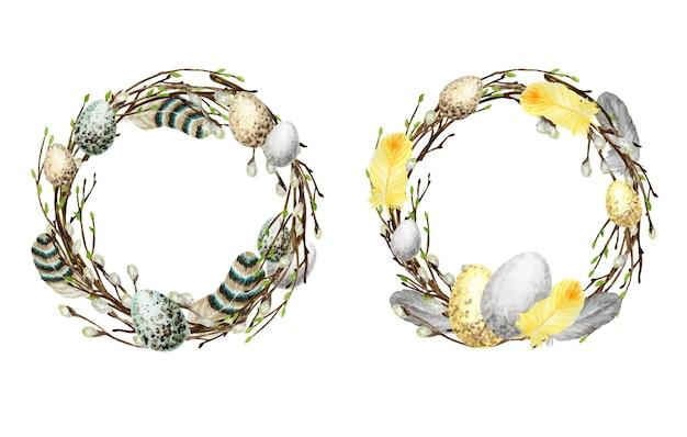 Акварель весенний пасхальный венок набор иллюстрации