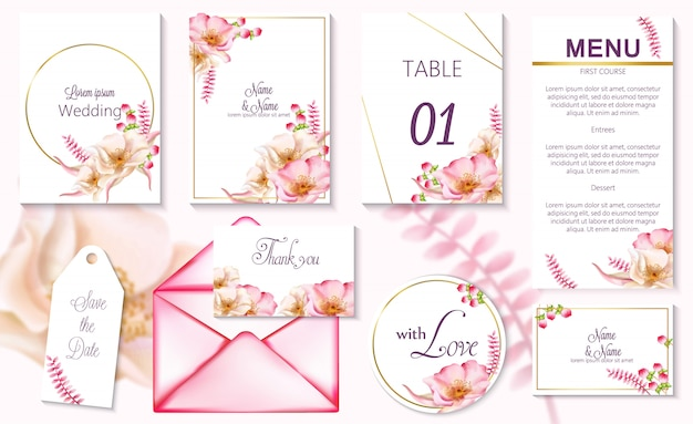 Watercolor spring event invitation cards with pink flowers in blossom