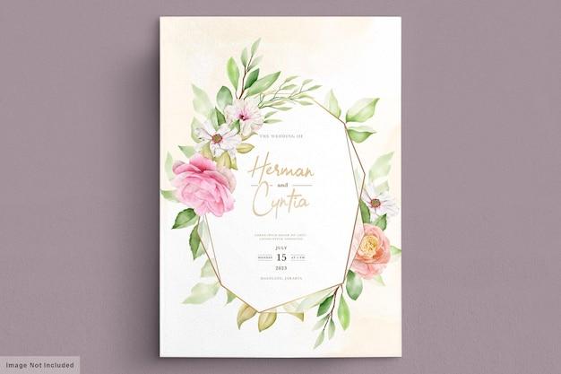 수채화 봄 꽃과 잎 초대 카드