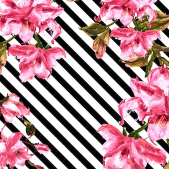Watercolor Spring Floral Background With Stripes
