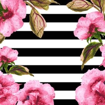줄무늬와 수채화 봄 꽃 배경
