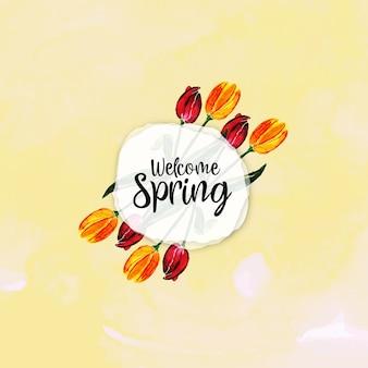 Sfondo floreale primavera acquerello