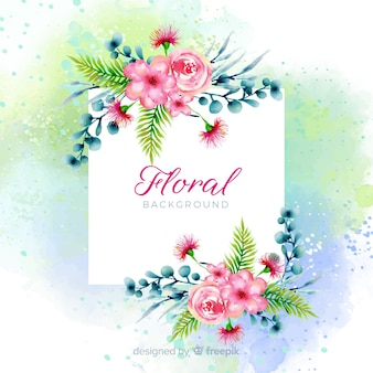 Watercolor spring floral background