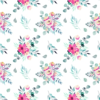 Watercolor spring floral bouquets, branches and leaves seamless pattern