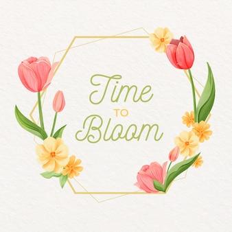 Watercolor spring floral frame concept