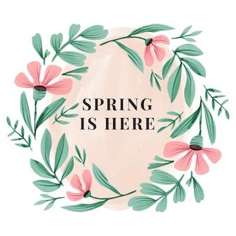 水彩春花のフレームデザイン