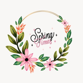 Watercolor spring floral frame template