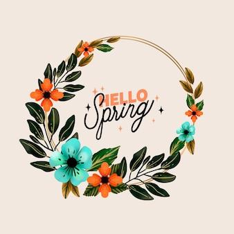 Modello di cornice floreale primavera dell'acquerello