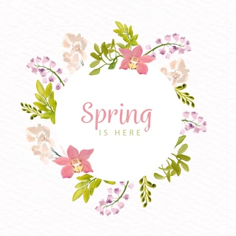 Акварельная весенняя цветочная рамка