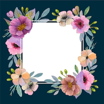 Watercolor spring floral frame theme