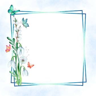 Watercolor spring floral frame with butterflies