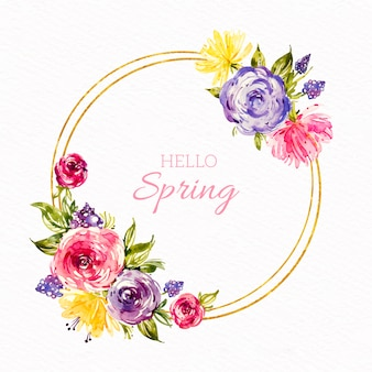 Watercolor spring floral frame with colorful flowers