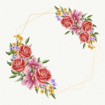 빈 공간을 가진 수채화 봄 꽃 프레임