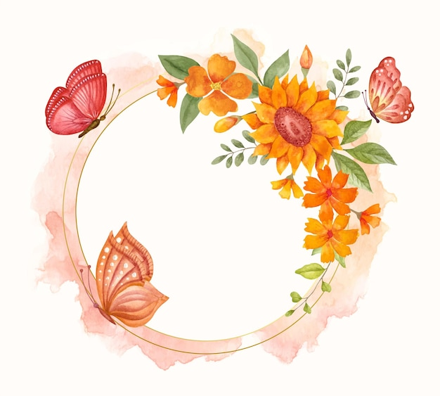 Watercolor spring floral frame with lovely butterflies