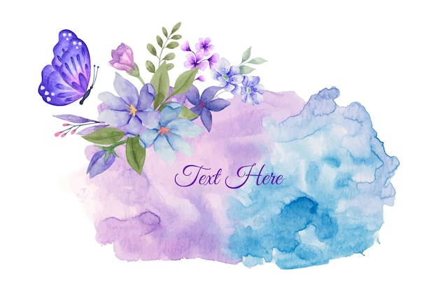 Watercolor spring floral frame with purple butterfl