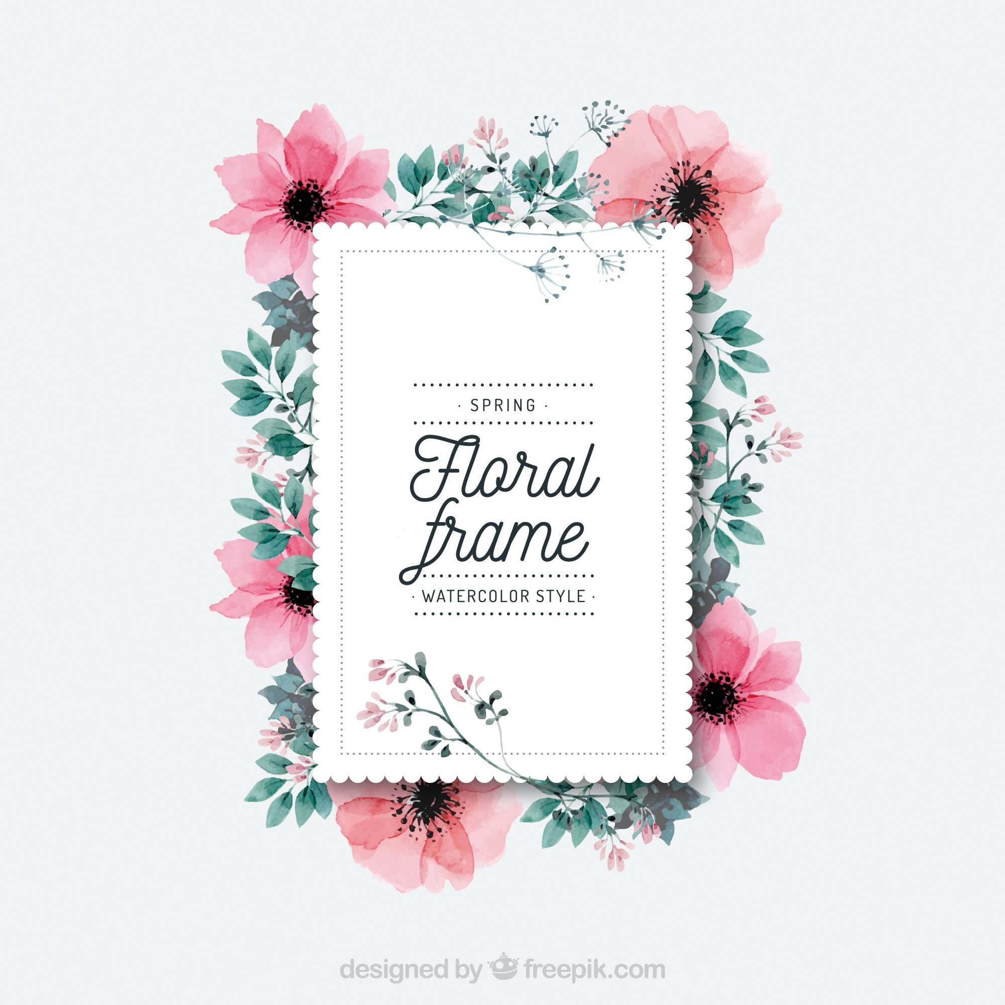 Watercolor spring floral frame