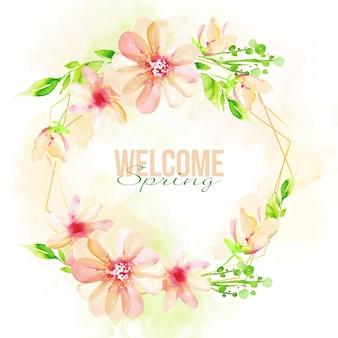 Watercolor spring floral frame