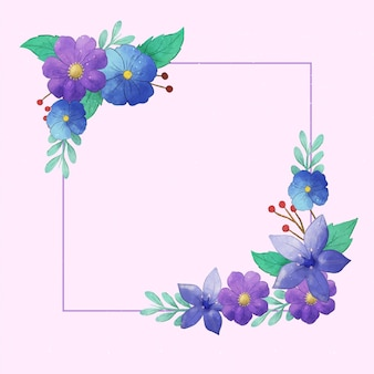 Cornice floreale primaverile dell'acquerello
