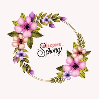 水彩の春の花のフレーム