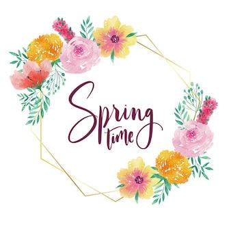수채화 봄 꽃 프레임
