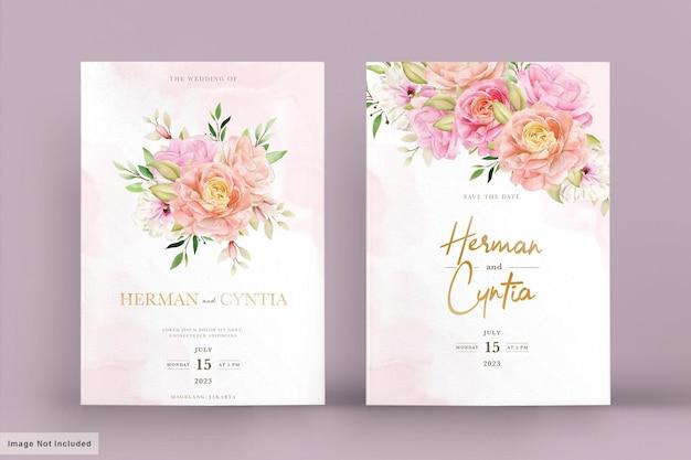 Набор акварельных весенних цветочных приглашений