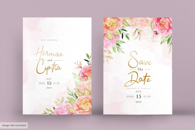 Watercolor spring floral invitation card set