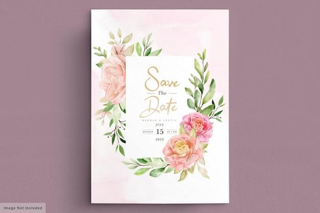 수채화 봄 꽃 초대 카드 세트
