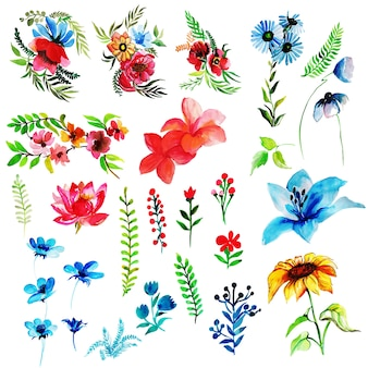 Watercolor spring floral and leaves collection