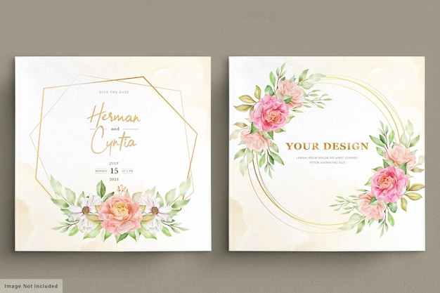 Watercolor spring floral and leaves invitation card
