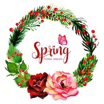 수채화 물감 봄 꽃 화환