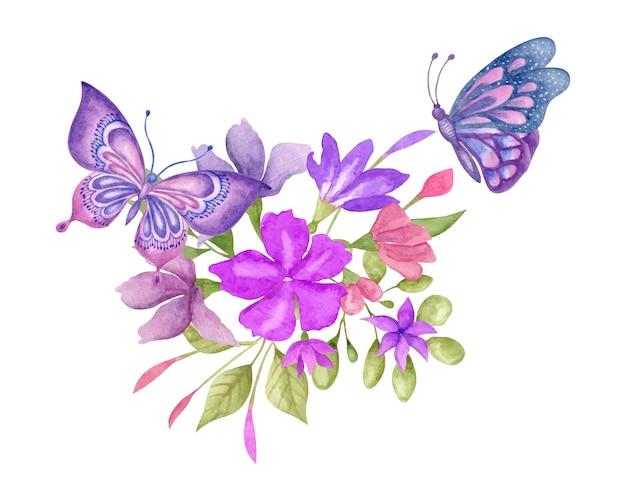 蝶と水彩の春の花の花束