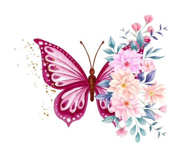 Watercolor spring flowers and leaves bouquet with lovely butterfly