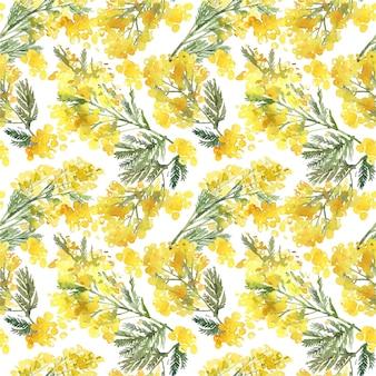 黄色のミモザの枝と水彩の春の花のシームレスなパターン。