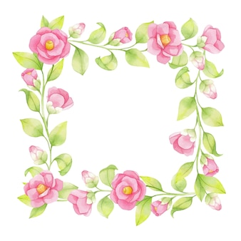Watercolor spring frame of pink flowers and green twigs