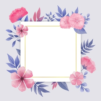 Watercolor spring frame with flowers