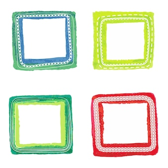 Watercolor spring frames bright colors shape square