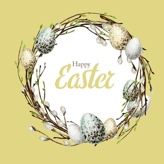 Watercolor spring happy easter wreath with inscription