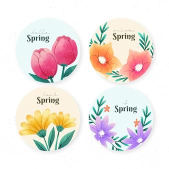 Collezione di etichette per la primavera dell'acquerello
