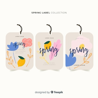 Watercolor spring label collection