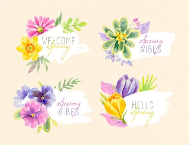 수채화 봄 라벨 컬렉션