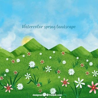 Watercolor spring landscape background with flowers