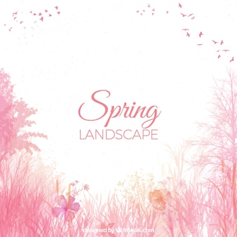 Watercolor spring landscape background