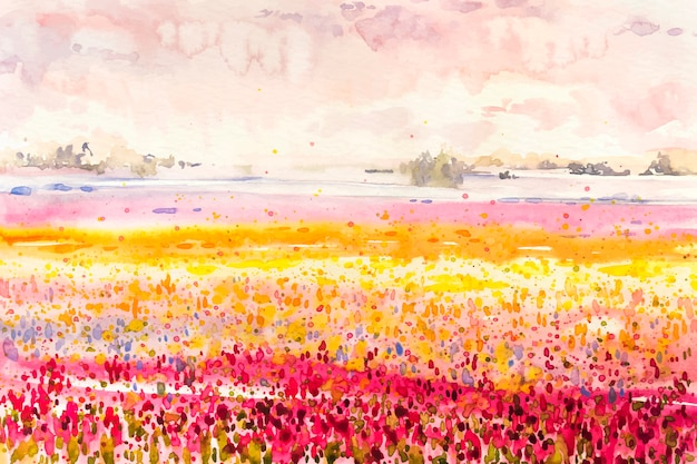 Watercolor spring landscape with fields of colorful flowers