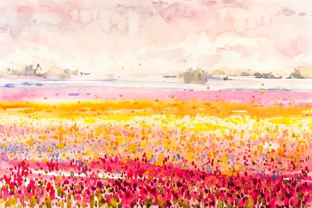 Акварель весенний пейзаж с полями из разноцветных цветов