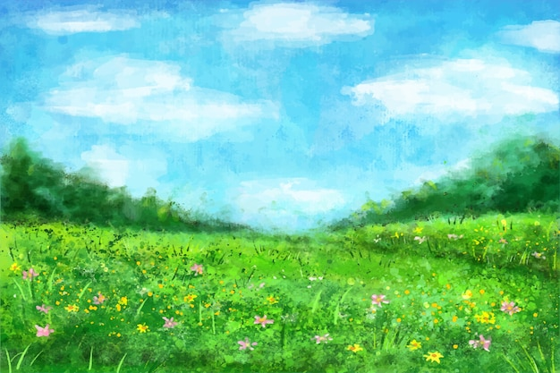 Watercolor spring landscape with  grass and flowers