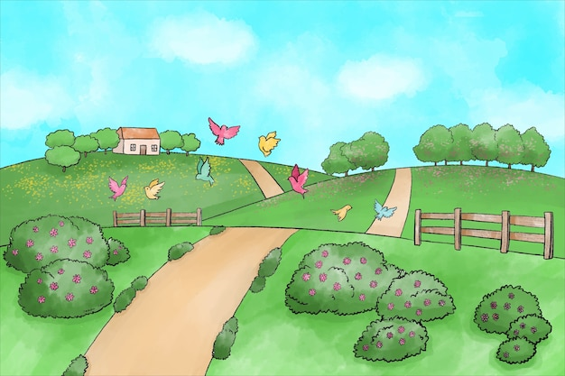 Акварельный весенний пейзаж с дорогой и кустарниками